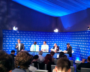 At the Global Conference, from left: Ken Rutkowski, Akon, Elan Lee, Ralph Simon and Sasha Strauss