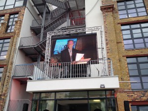 Eric Schmidt onscreen. Photo: Silicon Allee/David Knight